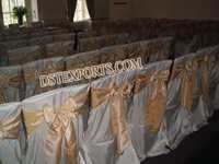 WEDDING CHAIR COVERS WITH SATIN SASHAS