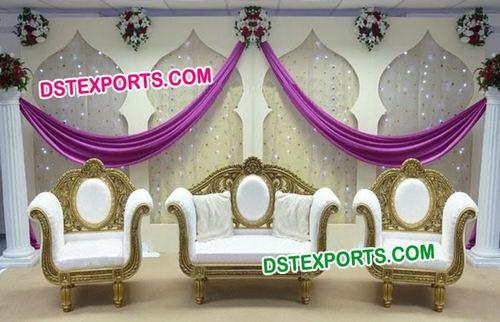 Indian Wedding Gold Carving Sofa Set