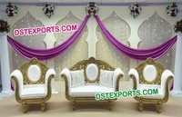 Indian Wedding Gold Carving Sofa Set