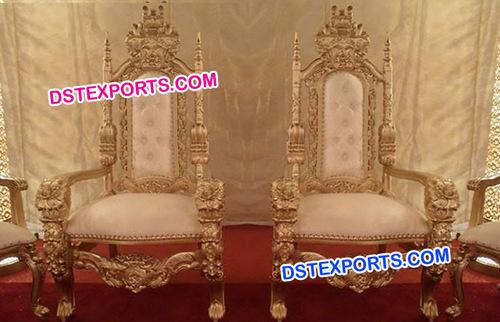 King Wedding Golden Chairs Set