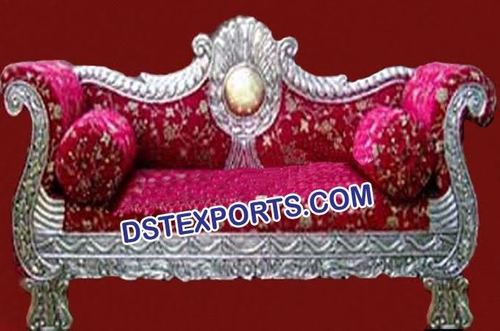 Silver Carved Royal Metal Couch