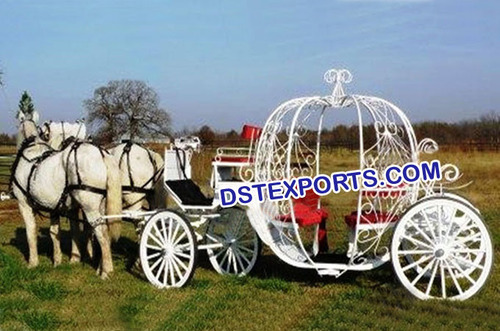 Beautiful White Wedding Horse Carriage