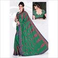 Green Cotton Print Saree