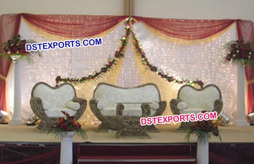 Indian Wedding Antique Golden Sofa Set