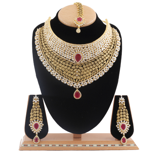 AD Necklace Set studded with Ruby stone.