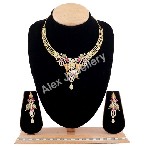 AD Delicate Necklace Set with Ruby stone.