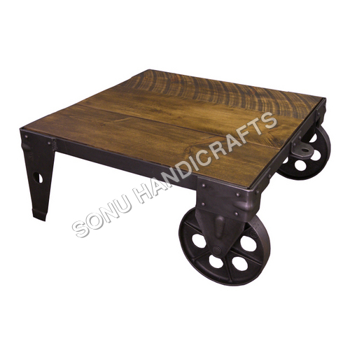 IRON COFFEE TABLE WITH WOODEN TOP