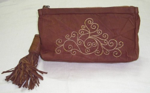 Leather Embroidery Evening Bag