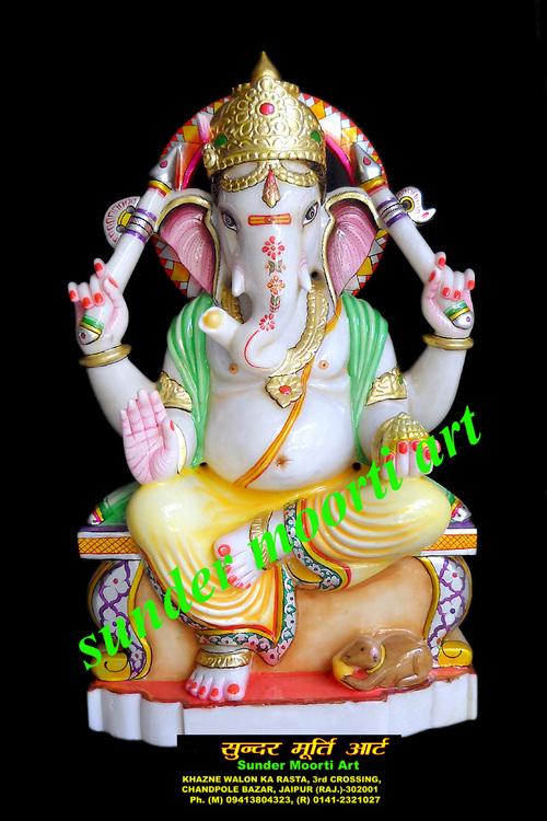 Marble Sitting Ganesh Ji Statue