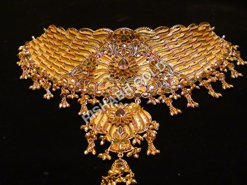 gold heavy jhumka jewelsome necklace with tag