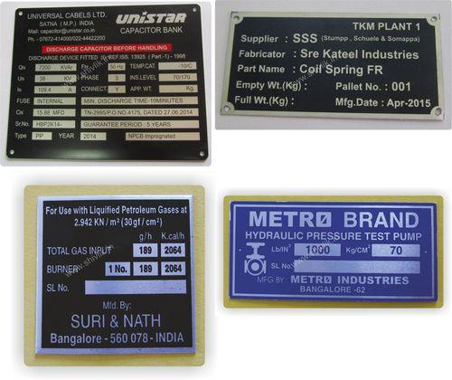 Serial No Metal Labels