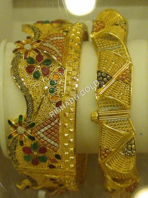 Stone Studded Gold Bangles