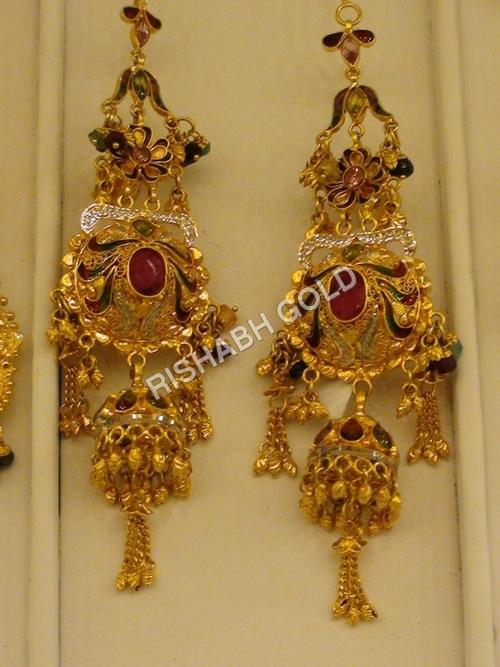 Gold Long Fancy Earrings