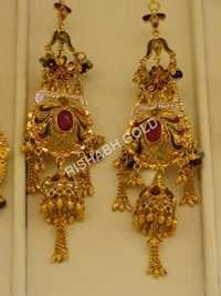 Gold Long Fancy Earrings
