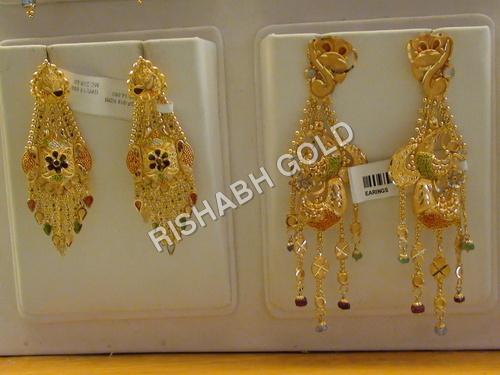 Yellow Gold Jhumka Earrings