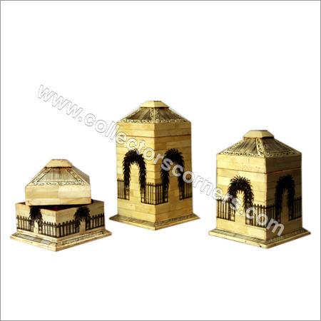 Golden Camel Bone Painted House Boxes