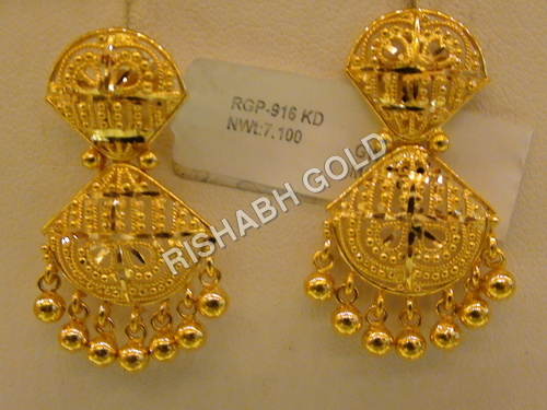 Gold Jhumka Earrings M...