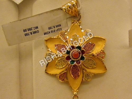 Studded Gold Pendants