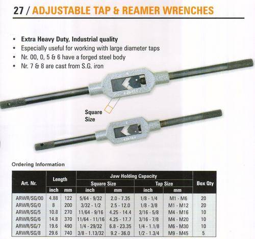 adjustable tap & reamer wrenches