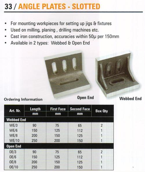 angle plates- slotted