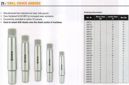 drill chuck arbors