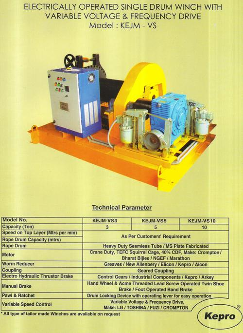 electrically operated mono spped single drum winch ( model KEJM-SP)
