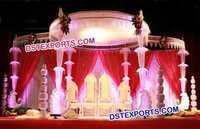 Crystal Peacock Pillar Mandap Set
