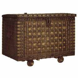 TEAK CHEST WITH BRASS TRIMMINGS