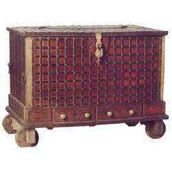 TEAK ETHNIC CHEST WITH BRASS AND IRON TRIMMINGS