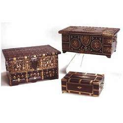 Teak & Brass Assorted Wooden Boxes