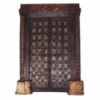 Teak Painted Haveli Door