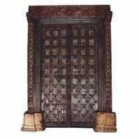 TEAK PAINTED 'HAVELI' DOOR