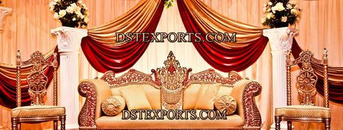 Muslim Wedding Golden Carved Furnitures