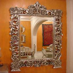 White Metal Inlaid Mirror Frame