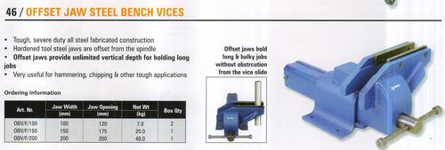offset jaw steel bench vices