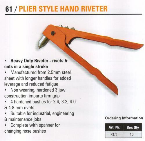plier style hand riveter
