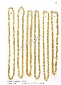 Mens Hollow Gold Chain Set