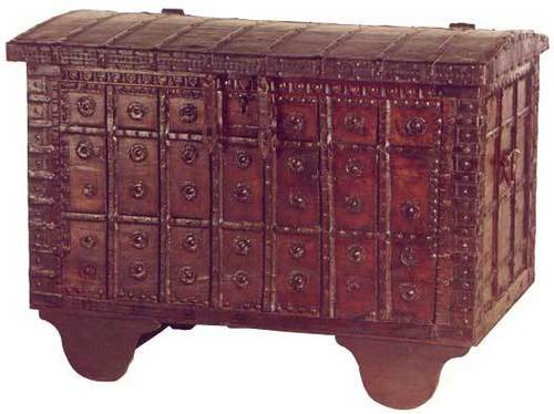 TEAK ETHNIC CHEST WITH BRASS AND IORN TRIMMINGS