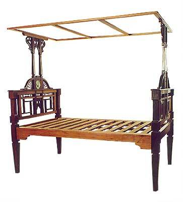 TEAK & ROSEWOOD TILED CANOPY BED