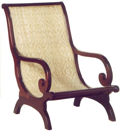 MAHOGANY CURVED ARM CHAIR