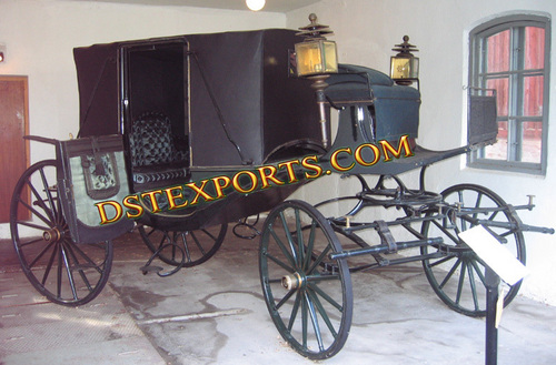 Black Covered Victoria Horse Carriage