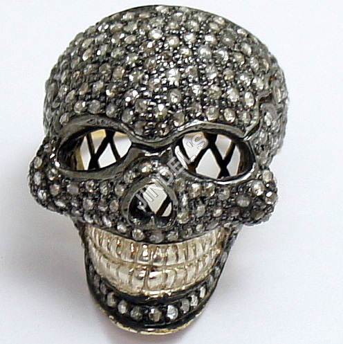 Rose Cut Diamond Skull Ring