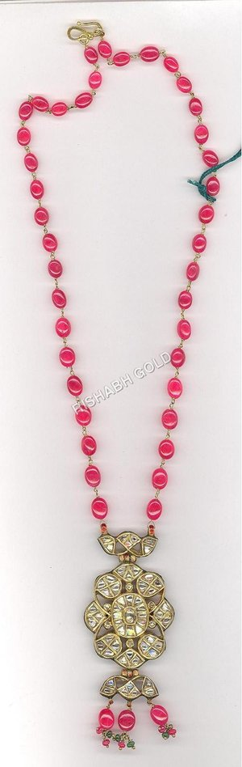 Kundan Meena Pendant Necklace