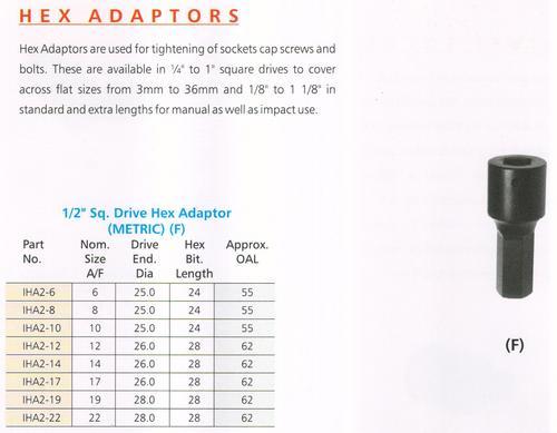 1/2'' sq. drive adaptors