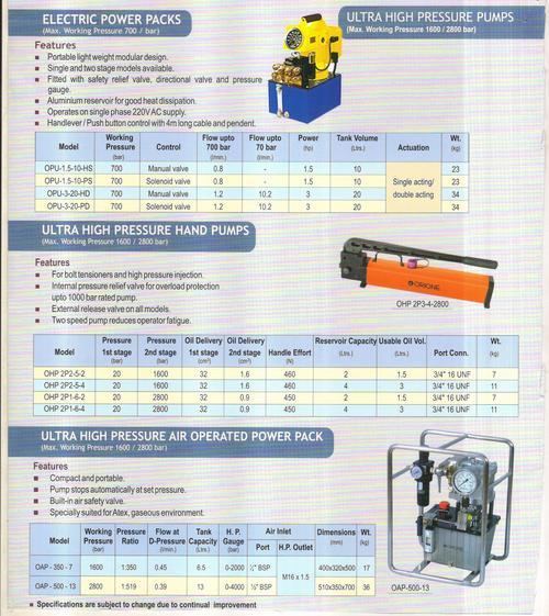 electric power packs    ultra high pressure pumps