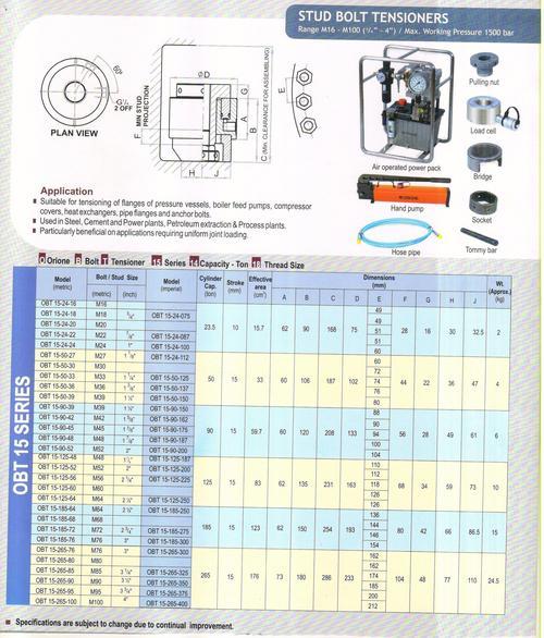 stud bolt tensioners(range m16-m100)