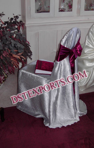 Wedding Silver Chair Cover With Maroon Sasha