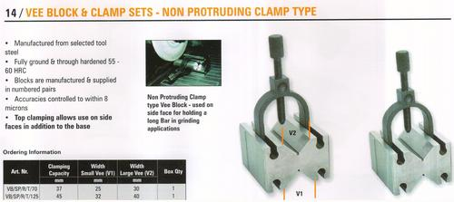 vee block & clamp set - non protruding clamp type