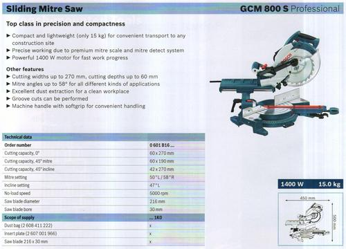 SLIDING MITRE SAW ( GCM 800 S Professional)