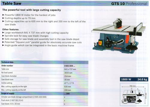 TABLE SAW ( GTS 10 Professional)